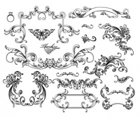 Fine Ornaments lace and Borders vector graphic 08