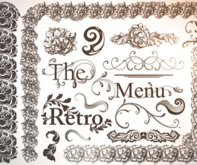 Retro Decorative Ornaments Frames and Borders vector 02