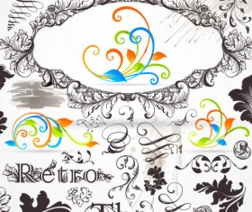 Retro Decorative Ornaments Frames and Borders vector 03