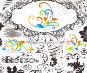 Retro Decorative Ornaments Frames and Borders vector 03