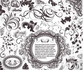 Retro Decorative Ornaments Frames and Borders vector 04