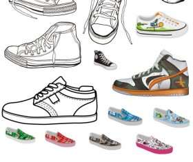 Different Canvas shoes elements vector