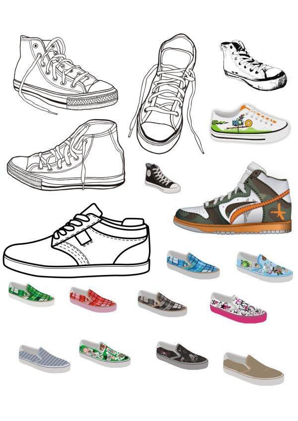Different Canvas shoes elements vector