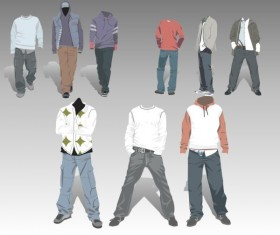 Men's Clothing design elements vector set