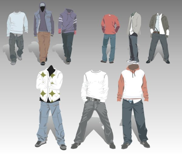 Mens Clothing design elements vector set