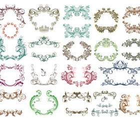 Fine Ornaments lace and Borders vector graphic 01