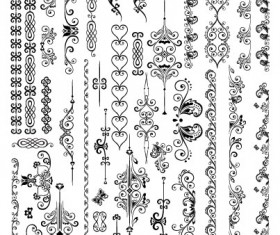 Fine Ornaments lace and Borders vector graphic 02