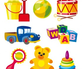 Different Baby Toys mix vector set 01