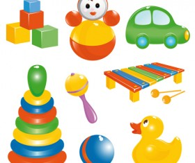 Different Baby Toys mix vector set 03