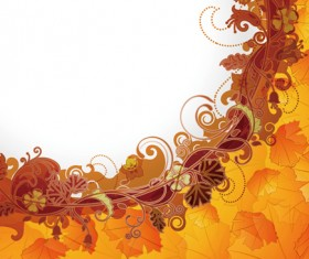 Abstract Background with flowers elements vector 04