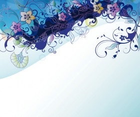 Abstract Background with flowers elements vector 05
