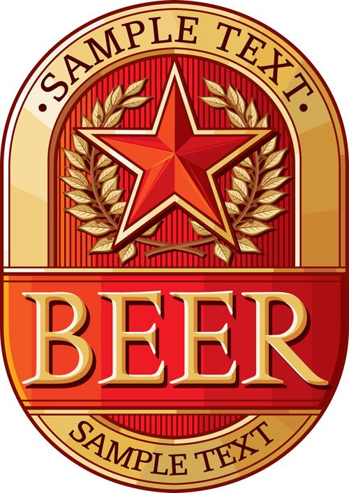 set of vivid beer label vector 04 free download