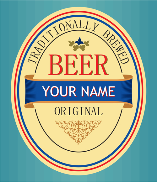 set of vivid beer label vector 05 free download