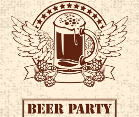Retro Beer party Mark design vector 02