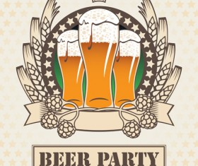 Retro Beer party Mark design vector 03
