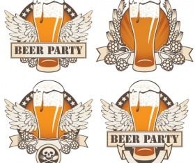 Retro Beer party Mark design vector 04
