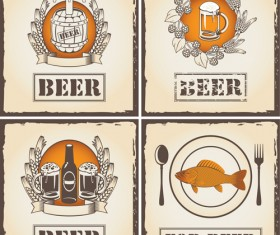 Retro Beer party Mark design vector 05