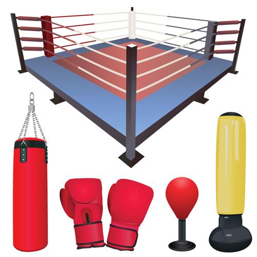 Set of Boxing design elements vector 04