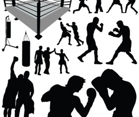 Set of Boxing design elements vector 05