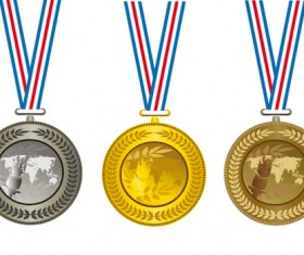 Champion Cup And medals design vector set 01