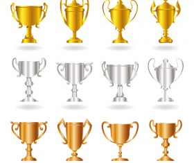 Champion Cup And medals design vector set 05