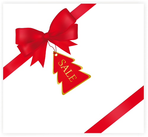 Set of Red Christmas Ribbons elements vector 01