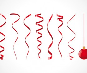 Set of Red Christmas Ribbons elements vector 02