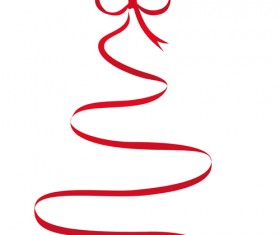 Set of Red Christmas Ribbons elements vector 05