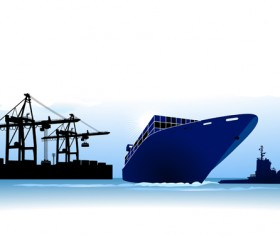 Set of Container shipping elements vector 01