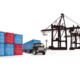 Set of Container shipping elements vector 03