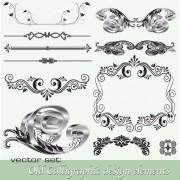 Link toOld calligraphic design elements vector set 02