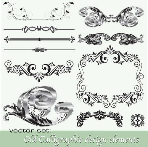 Old Calligraphic Design Elements Vector Set 02