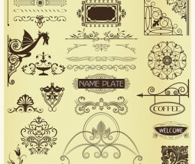 Old Calligraphic design elements vector set 04