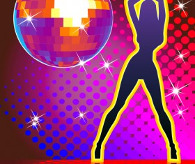 Set of Disco Ball theme background vector 03