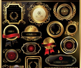 luxurious Golden frames and labels design vector 02