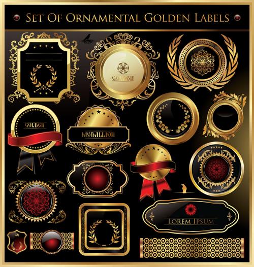 luxurious Golden frames and labels design vector 02