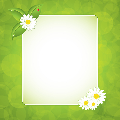 green floral frame vector set 01