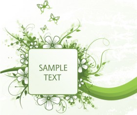 Green floral frame vector set 03