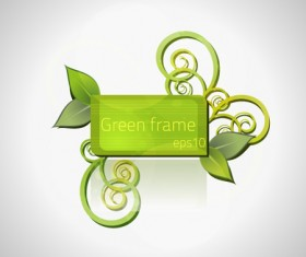 Green floral frame vector set 04