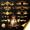 Golden heraldic and decor elements vector 01