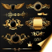Link toGolden heraldic and decor elements vector 03