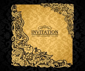 Elements of Luxury invitation background vector 01