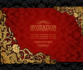 Elements of Luxury invitation background vector 02