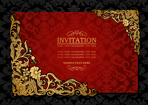 Elements Of Luxury Invitation Background Vector 02  Free Invitation Backgrounds