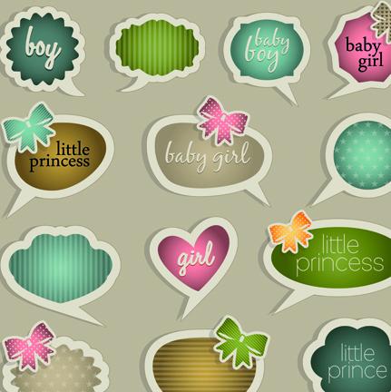 Cute little princess labels to talk design vector