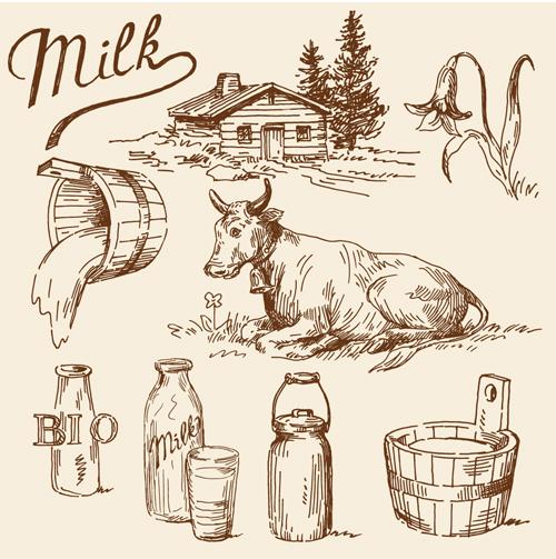 Milk Advertising theme design elements vector 05