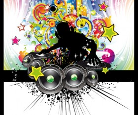 Set of musical event flyer cover vector 04