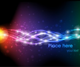 Neon Light beam vector backgrounds set 01