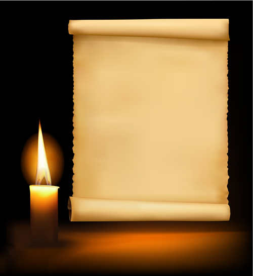 Old paper scrolls and candle design vector 01 – Over