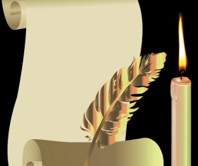 Old Paper Scrolls and candle design vector 02